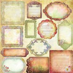 Scrapbook journaling and labels -- Laminas decoupage: etiquetas