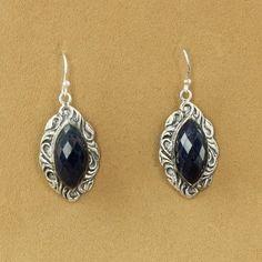 Sterling Silver Marquise Sapphire Swirl Dangle Earrings $99.50 #jewelry