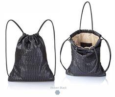 Camel brown leather backpack tote multi way back bag sack