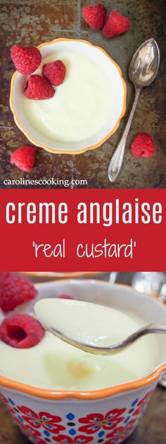 Creme anglaise or 'real custard' is smooth, creamy, gently sweet and delicious. Easy to make, delicious served chilled as a dessert or warm with eg crumbles/pies