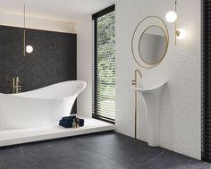 Black and white plus gold in an exclusive bathroom Light Grey Bathrooms, Modern Bathroom, Grey And Beige, Black And White, Black Marble Background, Bright Dining Rooms, Open Showers, Black Windows, Clawfoot Bathtub