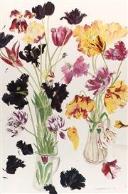 View Parrot Tulips By Elizabeth Blackadder; Access more artwork lots and estimated & realized auction prices on MutualArt. Natural Form Artists, Blackadder, Book Flowers, Parrot Tulips, Floating Flowers, Flower Paintings, Botanical Illustration, Garden Art, Flower Art