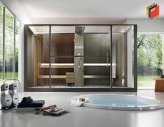 Welcome to Prestige Saunas, the exclusive UK supplier of Kung Saunas from Switzerland. Luxury Saunas & Steam room design & installation for home & commercial wellness. Home Steam Room, Sauna Steam Room, Saunas, Bathroom Spa, Modern Bathroom, Design Sauna, Sauna A Vapor, Sauna Hammam, Modern Bathrooms
