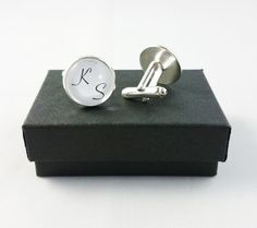 Wedding Cufflinks Personalized Mens Cufflinks by YourOccasionGifts Father Birthday, Gifts For Father, Just Giving, You Are The Father, Little Gifts, Groomsmen, Special Gifts, Silver Plate, Initials