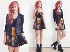 Boohoo Sequin Biker Jacket, Poppy Lux Galaxy Eliza Dress, Ark Clothing Cleated Platform Boots