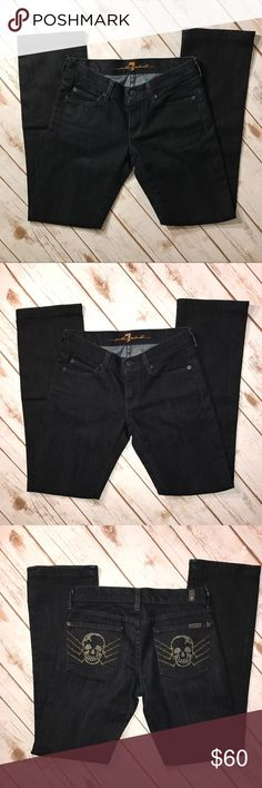 """7 For All man kind skull Dark straight leg Denim 7 For All Mankind Dark straight leg Denim. In very good condition. No rips or stains. measurements: waist 27"""", outseam 37"""", inseam 29"""" 7 For All Mankind Jeans Straight Leg"""