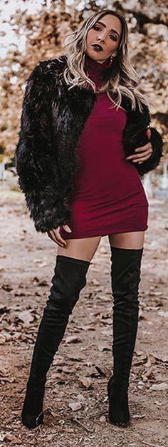 #fallfashion #falltrends #fashion #style #dresses #minidress ##hauteandrebellious #lookbook #photography #editorial #fall #mariadelacruz #hauteinstinct   #maroon #knitdress #furcoat #furjacket #blackfur #maroon #knitdress #furcoat #furjacket #blackfur #thighhighboots #boots  #dresses #minidress