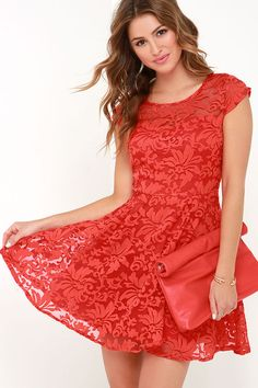Some Like It Haute Coral Red Jacquard Skater Dress at Lulus.com!