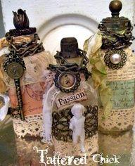 gypsy junk fairy | Altered Bottle Art
