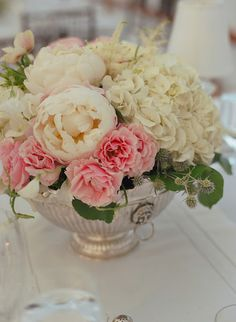 White and pink peonies - in a silver Revere bowl.