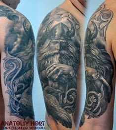 Tattoo Anatoliy Hort - tattoo's photo In the style Black and grey, Male, Vikings, Rav Norse Tattoo, Raven Tattoo, I Tattoo, Mayan Tattoos, Irish Tattoos, Back Tattoos, New Tattoos, Tatoos, Viking Warrior Tattoos