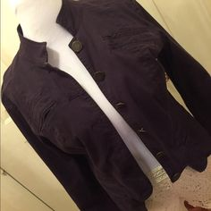 Deep purple motorcycle jacket Hot hot super cute deep purple Moto jacket size LG worn once just sits in closet will fit up to a 38dd well. Sits just below the waist is a soft jean material Jackets & Coats Utility Jackets