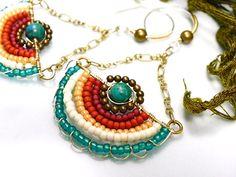 Wire wrapped artisan handmade brass earrings by lesbijouxdeSylvie