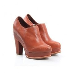 512-6 Women's Genuine Leather Platform Ankle Boots - Brown