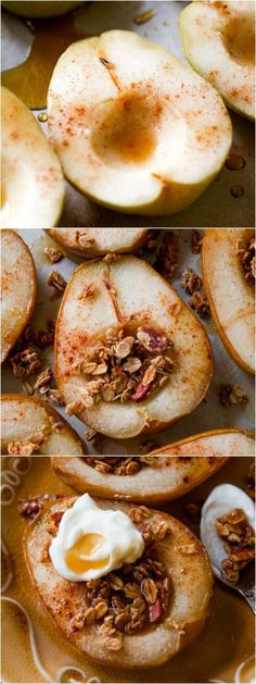 4 ingredient baked pears infused with maple and vanilla! Top with crunchy granola and yogurt for a healthy, satisfying dessert! Easy recipe found on http://sallysbakingaddiction.com