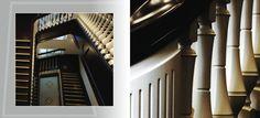 Ekskluzywne schody Pałacu Arcybiskupów we Lwowie. Wykonane metodą odtworzeniową na podstawie starych zdjęć z początków XX wieku. Barierki schodów wykonane z drewna olchowego, celem nadania wyjątkowej gładkości powierzchni. Stopnie i poręcze wykonane z drewna dębowego. || Wooden, two-colored, exclusive stairs in Lvov residency, alder barriers, oak steps