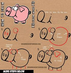 How to Draw Cartoon Pig with the Word Pig Drawing Lesson for Kids How to Draw Cartoon Pig with the Word Pig Step by Step Drawing Tutorial for Children Word Drawings, Easy Drawings, Animal Drawings, Drawing With Words, Drawing Cartoon Characters, Cartoon Drawings, Cartoon Pig, How To Draw Steps, Learn To Draw