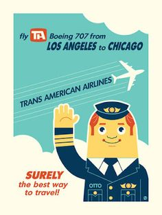 """""""Tran Airlines,"""" Retro travel posters inspired by pop culture by illustrators Tom Whalen and Dave Perillo. Travel Theme Nursery, Nursery Themes, Themed Nursery, Travel Themes, Travel Posters, Beach Fashion Photography, Horse Photography, Portrait Photography, Tom Whalen"""