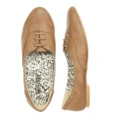 Tan Low Cut Brogues ($16) found on Polyvore