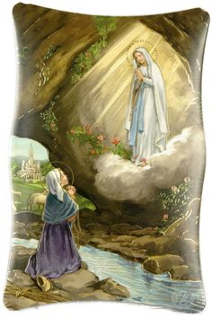 Our Lady of Lourdes and Saint Bernadette of Lourdes, pray for us. Ste Bernadette, St Bernadette Of Lourdes, Catholic Art, Catholic Saints, Catholic Store, Catholic Books, Religious Images, Religious Art, Religious Gifts