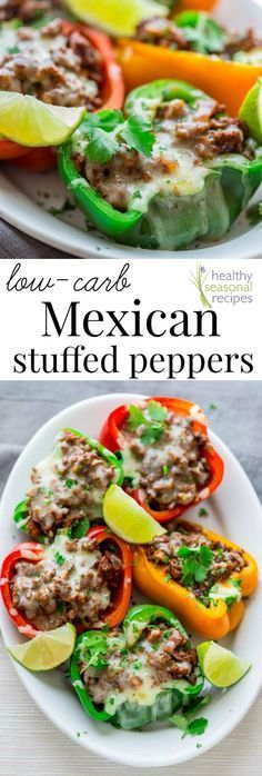 Blog post at Healthy Seasonal Recipes : These cheesy spicy Mexican stuffed bell peppers come together in only 20 minutes for a low-carb, gluten-free and totally delicious