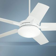 """56"""" Casa Endeavor® White LED Ceiling Fan This LED ceiling fan comes in a white finish motor, with 5 blades in a clean white finish. At the bottom is an energy-efficient integrated LED light with opal frosted glass. A full function handheld remote control with an optional wallplate bracket and battery is included.  The dual mounting hanging system allows for this fan to be hung from a downrod or low profile with the ceiling. Living Room White, White Rooms, Ceiling Height, Led Ceiling, Ceiling Fan Makeover, White Ceiling Fan, White Lead, Frosted Glass, Modern Lighting"""