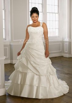 Robe de mariée grande taille bretelle asymétrique démontable taffetas appliqué sur mesure [#M1503127066] - modanie