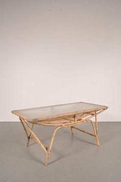 Danish Rattan Coffee Table, 1950s 1