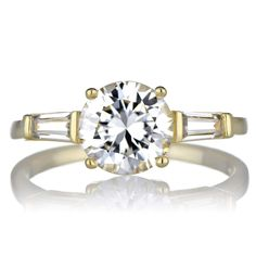 Sterling Silver Baguette Shape Cubic Zirconia Engagement Ring