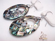 WOMENS FASHION JEWELRY NATURAL ABALONE SHELL EARRING DANGLE DROP ZN80 00141 #ZL #Seeitemtitle
