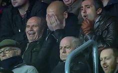 La cara de Pep Guardiola después de un regate de Leo Messi