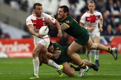 Canberra Raiders Josh Hodgson of England attempts to score during the Four Nations match between the England and Australian Kangaroos at Olympic Stadium on November 13, 2016 in London, United Kingdom.