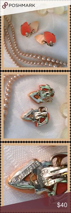 """New Listing 💍 CLAUDETTE Orange & Gold Clip Ons New Listing 💍 CLAUDETTE Orange & Gold Clip Ons 💍 Fabulous earrings in wonderful condition. I believe the orange and gold leaves are lucite and the clips and """"stones"""" are all original. These earrings are truly collectibles. Vintage Jewelry Earrings"""