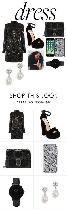 """Dress under $100"" by alejandra-1235 ❤ liked on Polyvore featuring Warehouse, Steve Madden, Gucci and CLUSE"