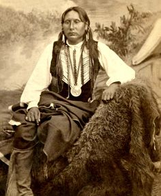 A superb portrait of Big Tree, Kiowa Chief. Photo: ca. 1870s.