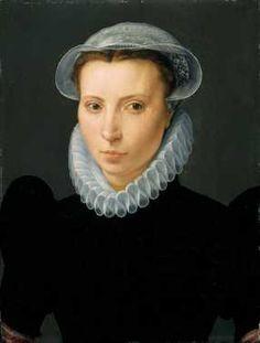 Portret van een vrouw (1573) Monogrammist B. Olieverf op paneel.  Inventarisnummer 22266
