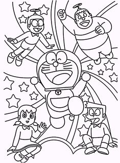 Doraemon And Friends Coloring Pages For Kids Printable Free Doraemon Cartoon