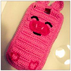 Crochet case for smartphones   Pink Pig Buy on Maparim