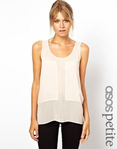 ASOS PETITE Exclusive Tank with Sheer and Solid Panels $42.19