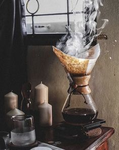 "brassandbolts: ""Pour over coffee steampunk style. Cafe Rico, Aesthetic Coffee, Autumn Aesthetic, Coffee Equipment, Coffee Facts, Coffee Is Life, Coffee Lovers, House Coffee, Coffee Girl"
