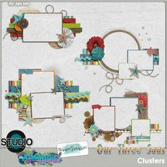Our Three Sons Cluster Frames by #AmandaCreation and #NibblesSkribbles.  This collaboration is all about boys!   #thestudio #digitalscrapbooking