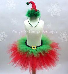"Christmas Elf Tutu Skirt Set w/ mini Elf Hat Headband 3/4T Toddler   My adorable handmade Christmas Elf Tutu Skirt Costume Set is perfect for a Christmas Photo Shoot! The tutu skirt is 10"" long with a"