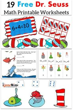 19 sets of free Dr Seuss math printable worksheets for kids from toddler to preschool to elementary school to middle school. 19 sets of free Dr Seuss math printable worksheets for kids from toddler to Dr. Seuss, Dr Seuss Week, Math Activities For Kids, Kids Math Worksheets, Printable Worksheets, Free Printables, Maths Fun, Addition Worksheets, Sequencing Activities
