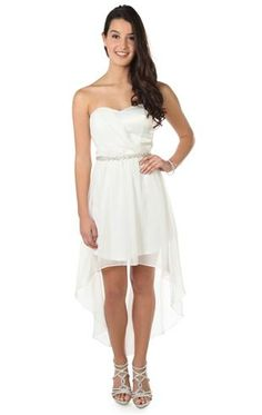 strapless chiffon short homecoming dress with high low skirt and jewel waist