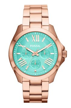 Rose gold and mint watch.