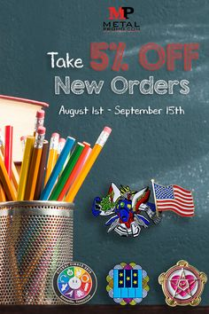 Take advantage of our Back to School Special 🍎📚 August - September and get off all new orders! 👉 Contact our customer care team Monday - Friday - CST at or fill out a quote form on our website to get started. Back To School Quotes, Back To School Special, Custom Coins, Metal Business Cards, Types Of Pins, Free Artwork, Price Quote, We The Best, Custom Metal