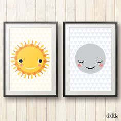 Kids poster set, scandinavian style, nursery decor, sun and moon, children's illustration, children wall art, kids room decor, nursery wall decor by Dodlido on Etsy