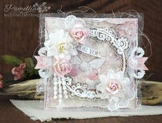My Little Craft Things: Stamperia / Scrapiniec - Fantasma Frame Shabby Chic Paper, Shabby Chic Cards, Pretty Cards, Cute Cards, Birthday Cards For Women, Adult Crafts, Card Tags, Baby Cards, Vintage Cards
