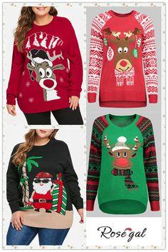 a5812130868ad 75% remise pour les vestes de grande taille  Rosegal  pull  Noël