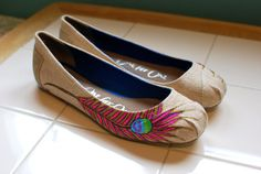 Peacock Feather TOMS Ballet Flats by BStreetShoes on Etsy, $179.00